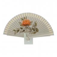 Abanico mini diseño ramillete flores naranjas