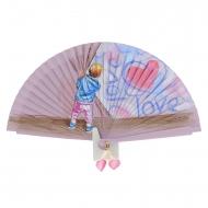 Abanico vintage madera rosa niño y corazón