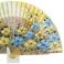 Abanico diseño madera oro con flores  109713