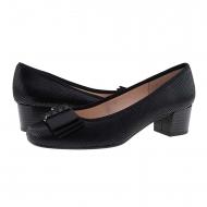 Zapatos salón negro piel serpiente con lazo