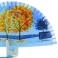 Abanico madera diseño azul con árboles  114684