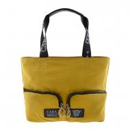 Maxi bolso lona amarilla dos asas y bolsillos