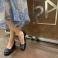 Zapatos piel lisa marino y chapón metálico 117539