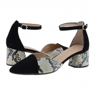 Zapatos piel negros pala-talón I-8002 Wonders