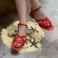 Sandalias planas de tiras cruzadas piel roja 117404