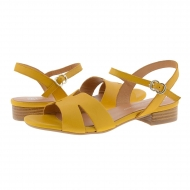Sandalias planas con pulsera piel amarilla