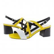 Sandalias tacón alto piel tricolor amarilla
