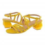 Sandalias medio tacón piel ante amarillo
