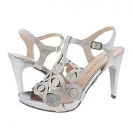 Sandalias de vestir tacón alto piel plata