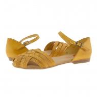 Sandalias piel amarilla estilo cangrejeras Porronet