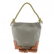 Bolso estilo cesta lino plata y sintético Bridas