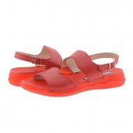 Sandalias cuña piel lisa roja C-5623  Wonders
