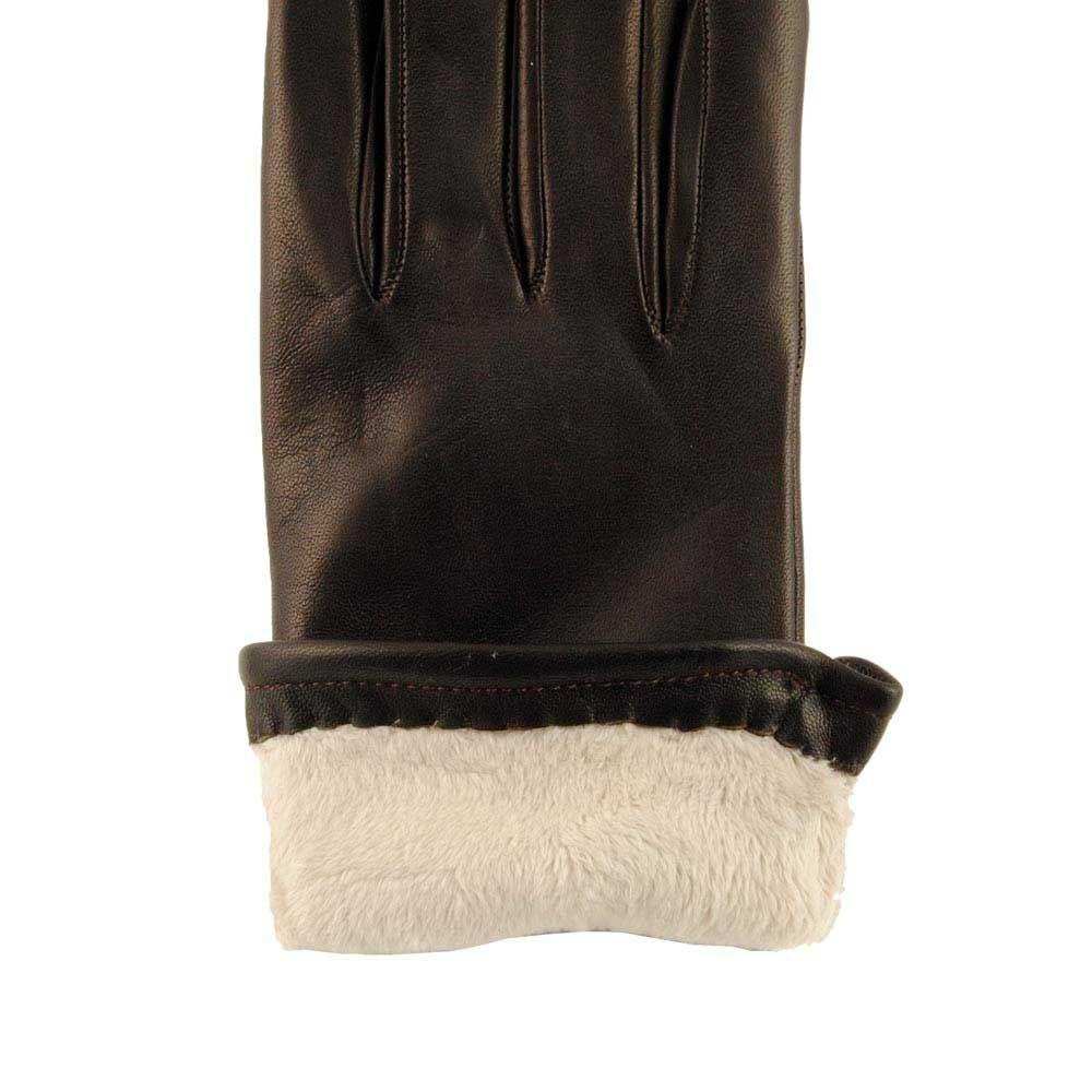 08a5bea036405 ... Detalle forro guantes piel con borreguito marrón ...