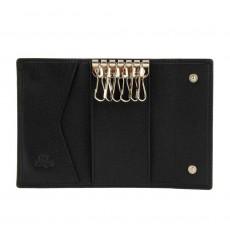 Llavero piel lisa para llaves grandes negro