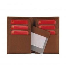Billetero piel con rayas grabadas 12 tarjetas cuero