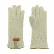 Guantes lana con lazo en piel