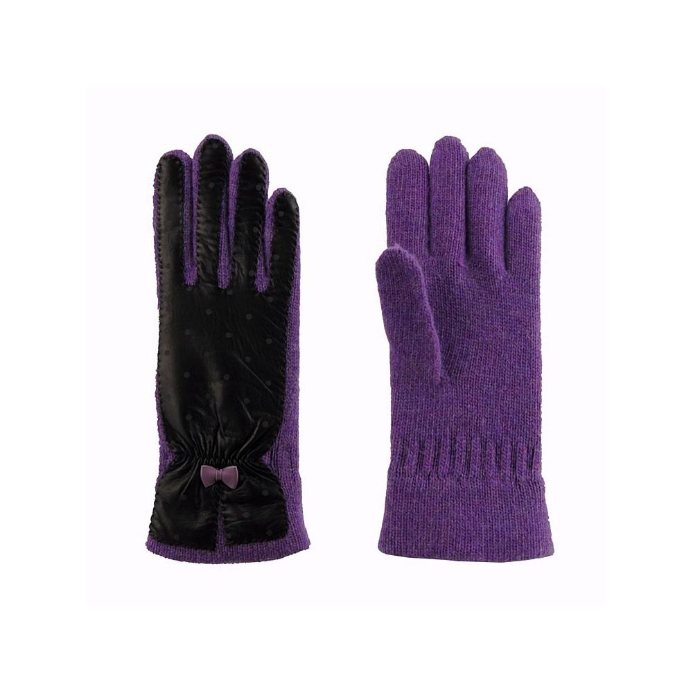 Guantes lana y piel con topos para mujer tienda online for Guantes de piel madrid