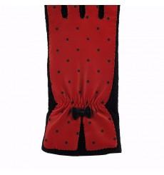 Guantes lana y piel con topos negro rojo