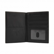 Billetero grande piel negro para pasaporte