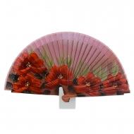 Abanico diseño flores rojas y hojas