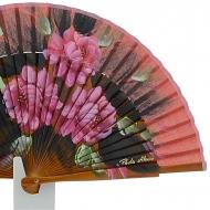 Abanico diseño en madera con flores rosas