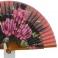 Abanico diseño en madera con flores rosas 94047