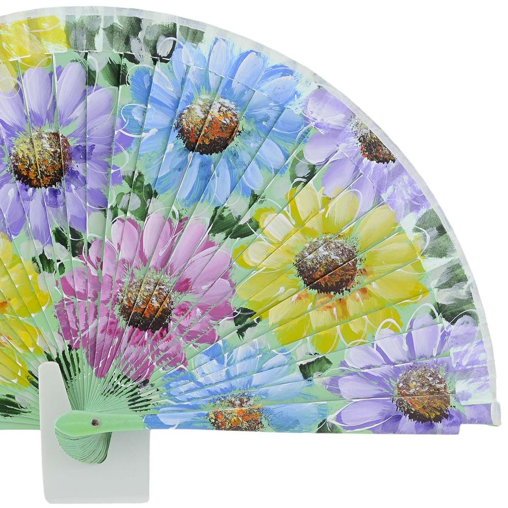 Abanico dise o verde flores de colores paula alonso for Abanico de colores