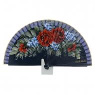 Abanico diseño flores rojas y azules