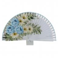 Abanico madera diseño tres flores azules