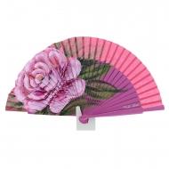 Abanico diseño madera rosa con una flor