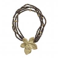 Colgante y gargantilla adorno flor metálica