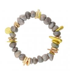 efcdae77219c Pulsera piedras adornos metálicos