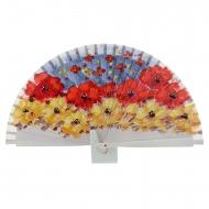 Abanico diseño madera hielo flores pintadas